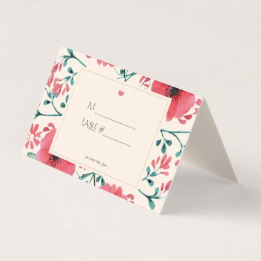 Wedding Themed Modern Floral Watercolor Place Holder Table Number Place Card
