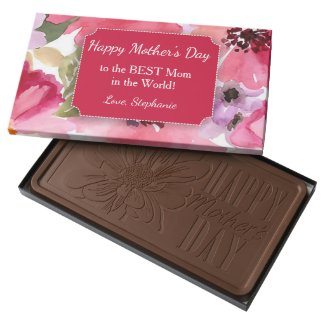 Modern Floral Watercolor Red Mother's Day Milk Chocolate Bar