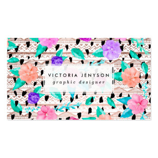 Modern floral watercolor rose gold aztec pattern business card