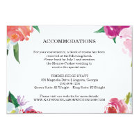 Modern Floral Watercolor Wedding Insert Card