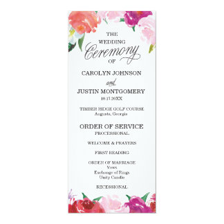 Modern Floral Watercolor Wedding Programs