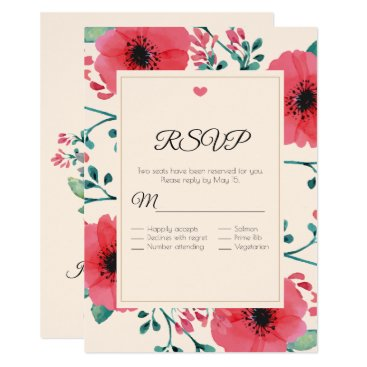 Wedding Themed Modern Floral Watercolor Wedding RSVP Card