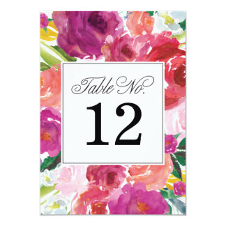 Modern Floral Watercolor Wedding Table Numbers 5x7 Paper Invitation Card