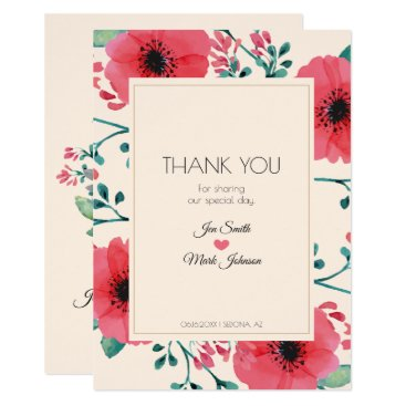 Wedding Themed Modern Floral Watercolor Wedding Thank You. Card