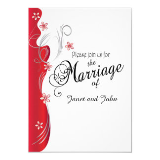 Modern Floral Wedding | Deep Red and Silver Card