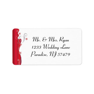 Modern Floral Wedding | Deep Red and Silver Label
