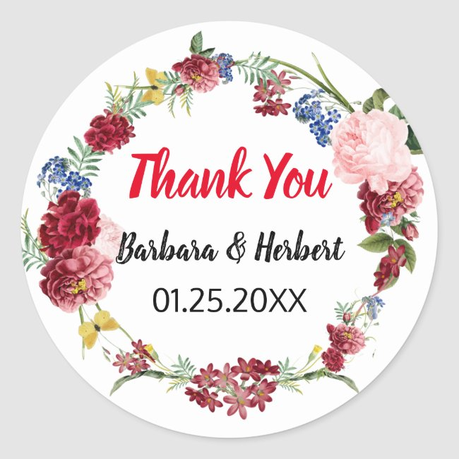 Modern Floral Wedding Favor Thank You Classic Round Sticker