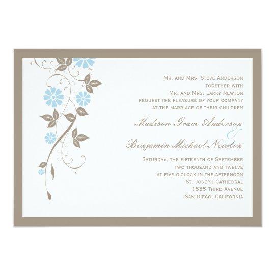 Modern Floral Wedding Invitation - Aqua Blue
