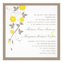 Modern Floral Wedding Invitation - Mustard Invite