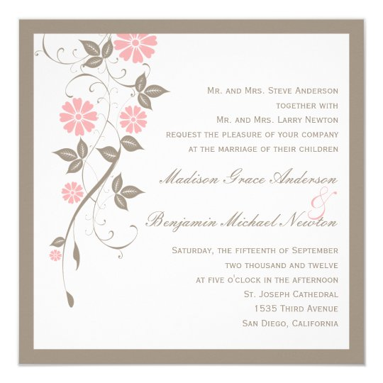 Modern Floral Wedding Invitation - Soft Pink