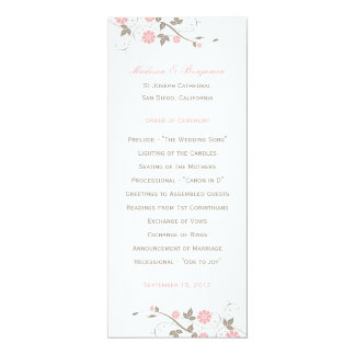 Modern Floral Wedding Program  - Soft Pink Card