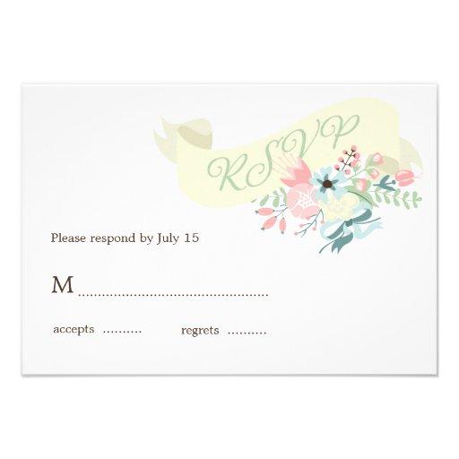 Modern Floral Wedding RSVP Response Invitation