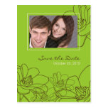 Modern Floral Wedding Save the Date Green & Brown Postcards