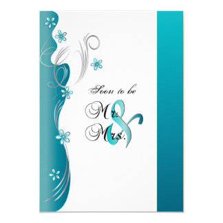Modern Floral Wedding   Turquoise and Silver Card