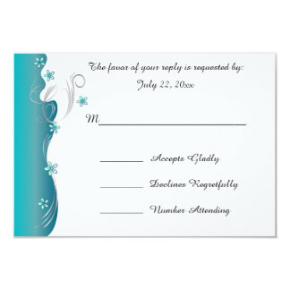 Modern Floral Wedding | Turquoise and Silver Card