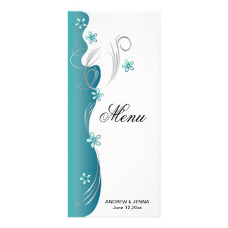 Modern Floral Wedding | Turquoise and Silver Rack Card