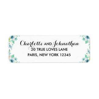 Modern Floral Wedding Vintage Return Address Label
