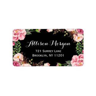 Modern Floral Wrapping Classy and Romantic Address Label