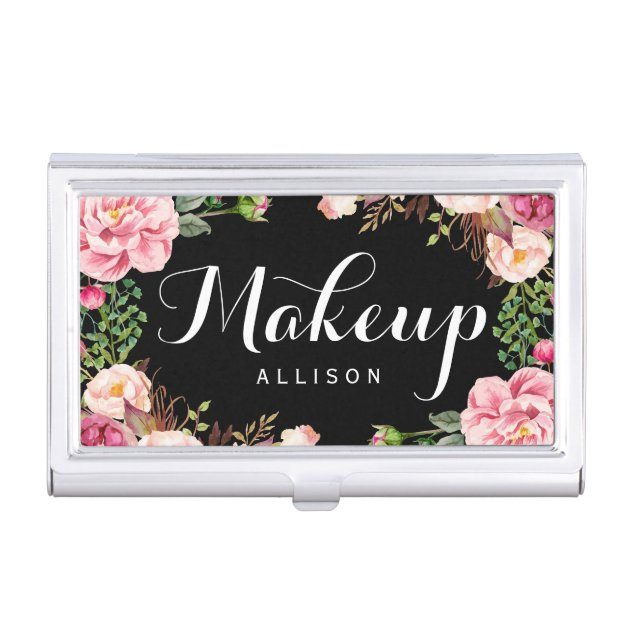Modern floral wrapping makeup artist calligraphy business card