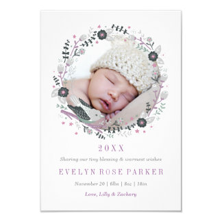 Modern Floral Wreath Birth Announcement