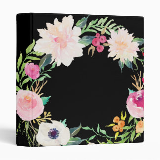 Modern Floral Wreath Black Binder