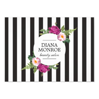 Modern Floral Wreath Stripe Salon Gift Certificate Card