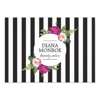 Modern Floral Wreath Stripe Salon Gift Certificate 4.5x6.25 Paper Invitation Card