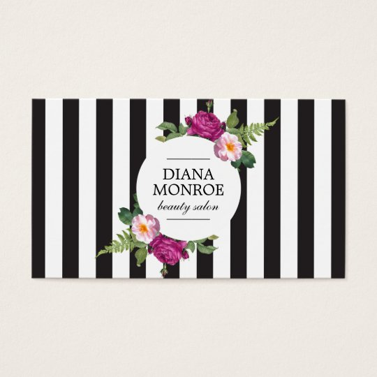Modern floral wreath striped salon business card zazzle modern floral wreath striped salon business card reheart Image collections