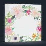 """Modern Floral Wreath White Binder<br><div class=""""desc"""">Stay beautifully organized with our pretty floral wreath on this white 3 ring binder. Pink roses,  dahlias,  and greenery add a pretty vintage and rustic touch.</div>"""