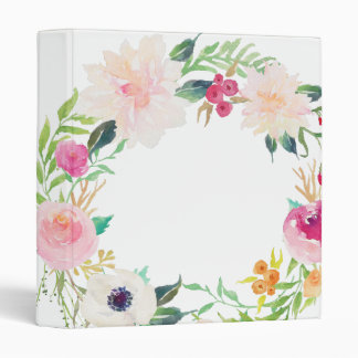 Modern Floral Wreath White Binder