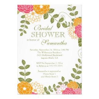 Modern Floral Zinnia Mums Flower Bridal Shower Invite