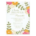 "Modern Floral  Zinnia & Mums Flower Bridal Shower 5"" X 7"" Invitation Card"