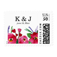 Modern Florals Watercolor Wedding Postage