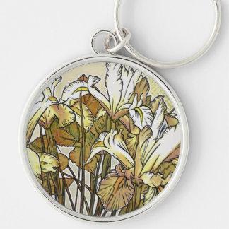 Modern Florals: White Iris Keychain