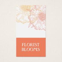 Modern Florist Business Card Orange Red