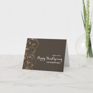 Modern Flourish Happy Thanksgiving Holiday Card