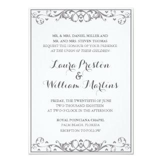 Modern Flourish & Heart Wedding Invitation