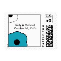 Modern Flower B&W Aqua Blue postage stamp