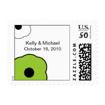 Modern Flower B&W Green postage stamp