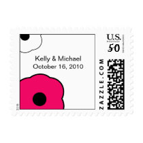 Modern Flower B&W Pink postage stamp