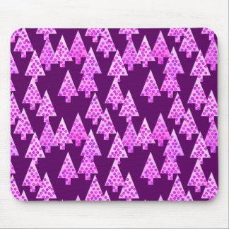 Modern flower Christmas trees - amethyst purple Mouse Pad