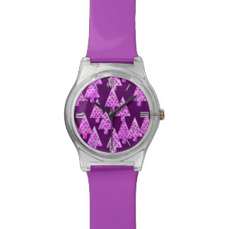 Modern flower Christmas trees - amethyst purple Wrist Watches