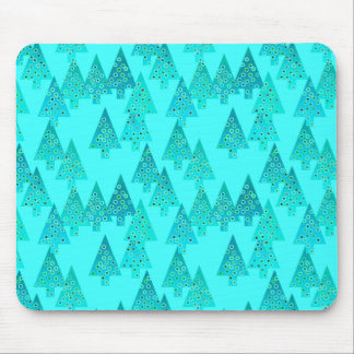 Modern flower Christmas trees - aqua & peacock Mouse Pads