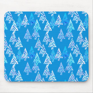 Modern flower Christmas trees - cerulean blue Mouse Pad