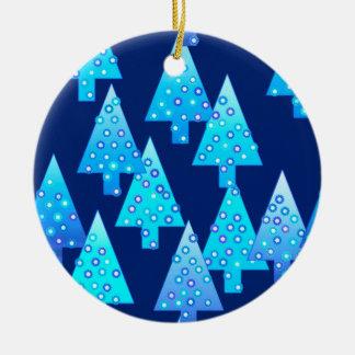 Modern flower Christmas trees - cobalt blue Ceramic Ornament