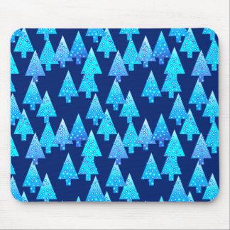 Modern flower Christmas trees - cobalt blue Mouse Pad
