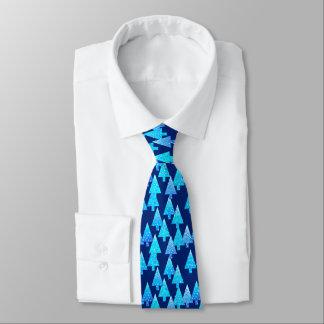 Modern flower Christmas trees - cobalt blue Neck Tie