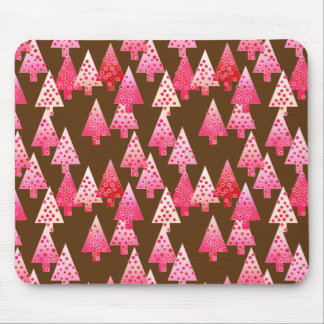 Modern flower Christmas trees - coral & brown Mousepad