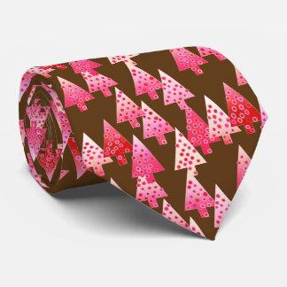 Modern flower Christmas trees - coral & brown Tie