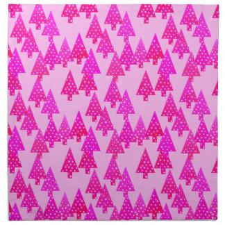 Modern flower Christmas trees - fuchsia pink Cloth Napkin